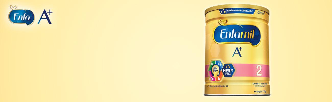Enfamil A+ 2 là sản phẩm dinh dưỡng cho trẻ từ 6-12 tháng với công thức DHA+ và MFGM Pro